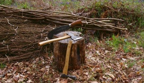 image of coppice work tools in wood
